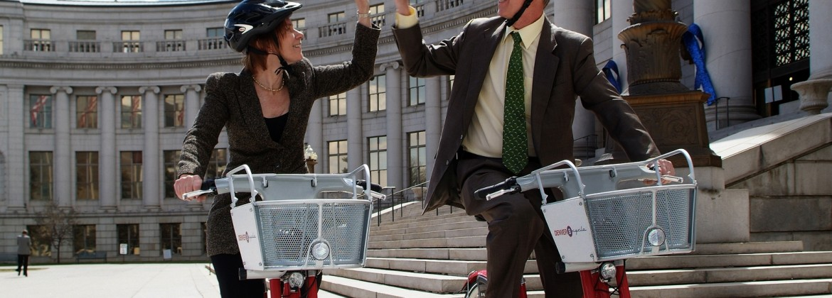 Hickenlooper on a B-Cycle