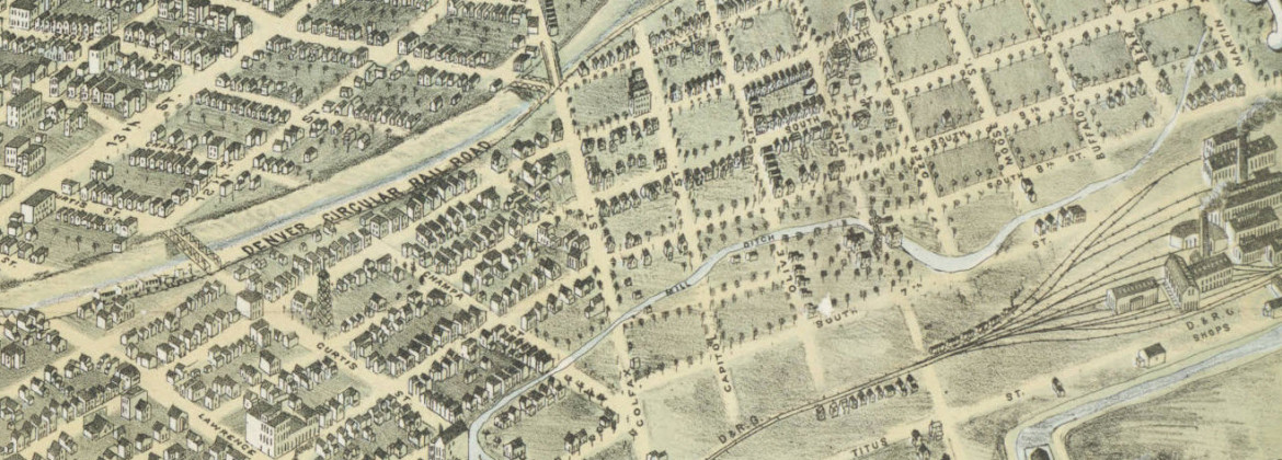 Bird's eye view of the city of Denver Colorado 1882 West ZOOM